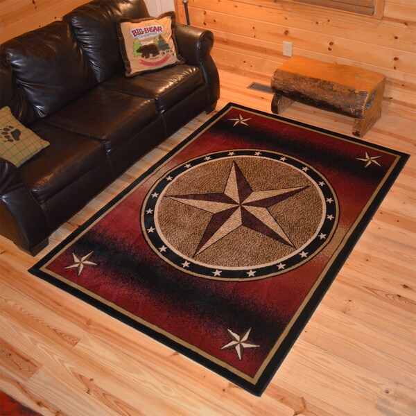 Rustic Lodge Westerm Texan Star Cabin Red Black Polypropylene Area Rug 2 X 3