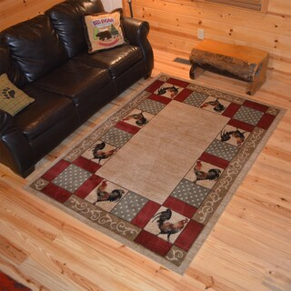 Outdoorsman Collection Rustic Lodge Chicken Rooster Cabin Ivory Polypropylene Area Rug - 2' x 3'