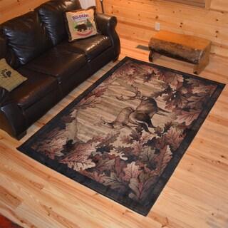 Rustic Lodge Deer Hunt Cabin Black Multi Polypropylene Area Rug (2'2 x 3'3)