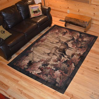 Rustic Lodge Deer Hunt Cabin Black Multi Polypropylene Area Rug (2'2 x 3'3)|https://ak1.ostkcdn.com/images/products/12601220/P19397436.jpg?impolicy=medium