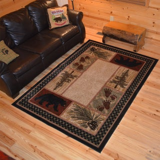 Rustic Lodge Bear Cabin Black Area Rug - 7'10 x 9'10