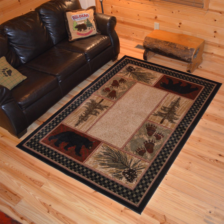 Rustic Lodge Bear Cabin Black Area Rug