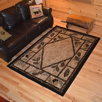 Rustic Lodge Pine Cone Cabin Ivory Area Rug - 7'10 x 9'10