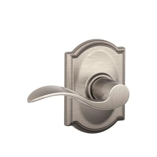 Accent Hall and Closet Lever with Camelot Trim & Closet Lock (Satin Nickel)