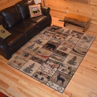 Rustic Lodge Bear Cabin Multicolor Polypropylene Panel Area Rug (7'10 x 9'10)