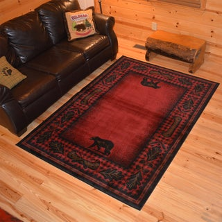 Rustic Lodge Bear Cabin Black/Red Synthetic Area Rug (7'10 x 9'10)