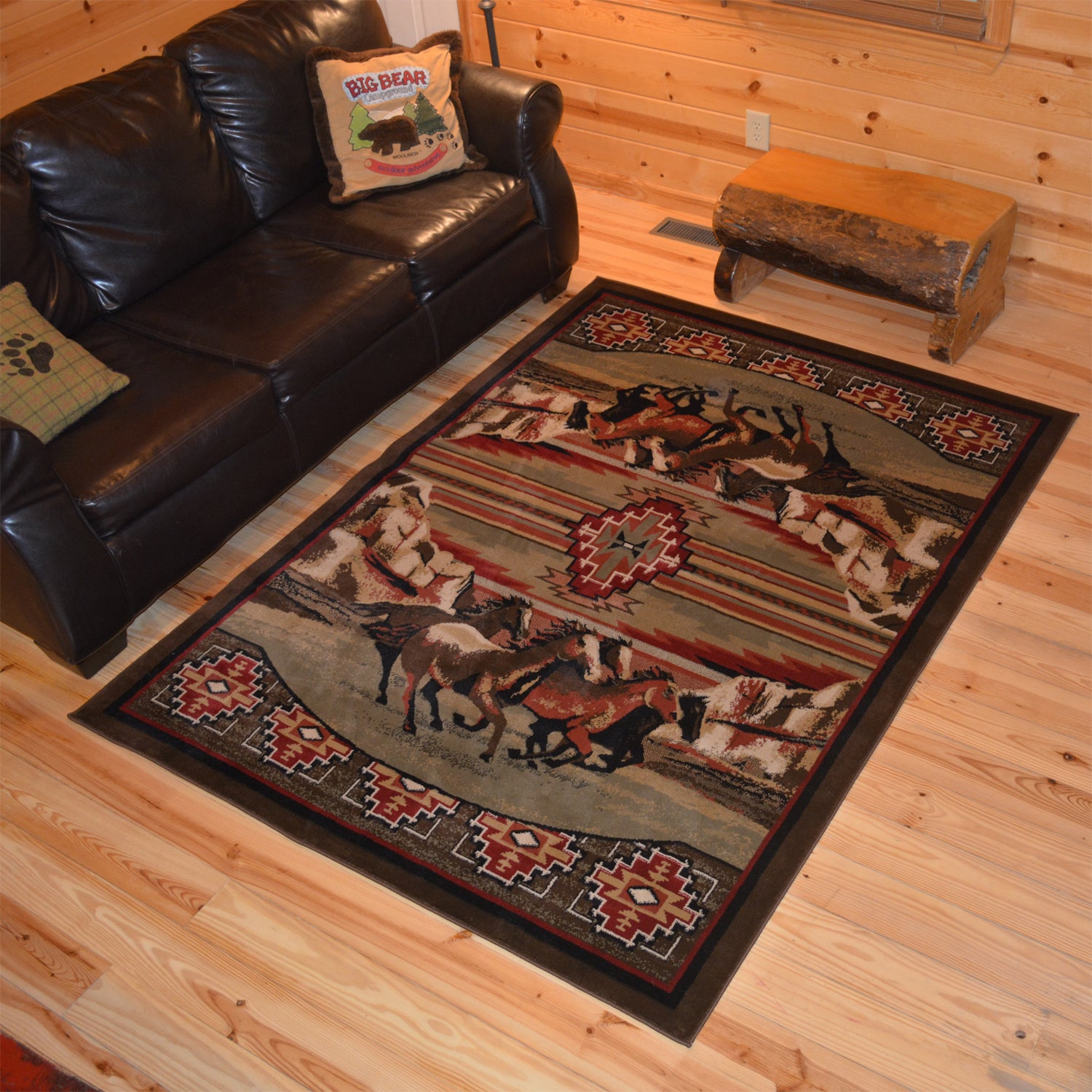 Running Horse Cabin Black Red Area Rug