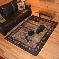 Rustic Lodge Bear Family Cubs Cabin Black Multicolored Area Rug - 8 x 10