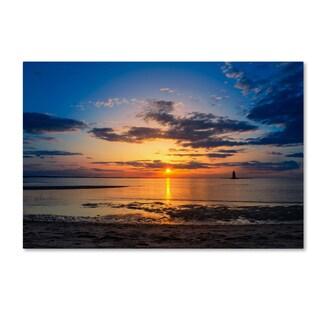 PIPA Fine Art 'Sunset Breakwater Lighthouse' Canvas Art