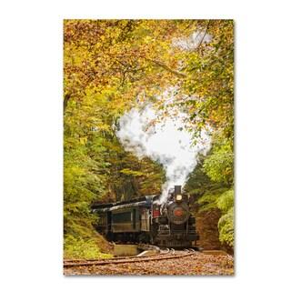 PIPA Fine Art 'Steam Train with Autumn Foliage' Canvas Art