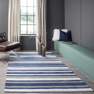 Hand Loomed Hampton Striped Navy Wool Rug (5' x 8')
