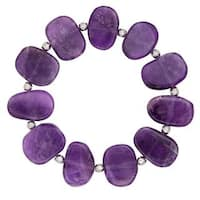 Sterling Silver and Amethyst Bead Stretch Bracelet - Purple