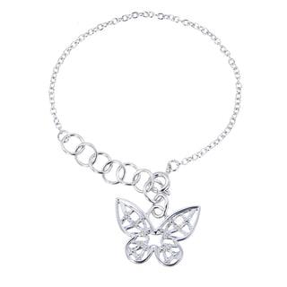 Butterfly Charm White Diamond Bracelet (1/20 CT)