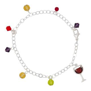 Sterling Silver and Cubic Zirconia Red Wine Charm Bracelet