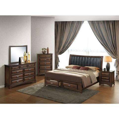 Broval 179 5-piece Light Espresso Finish Wood Queen-size Bedroom Set