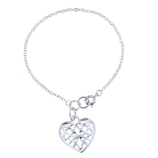 Heart Charm White Diamond Bracelet (1/20 CT)