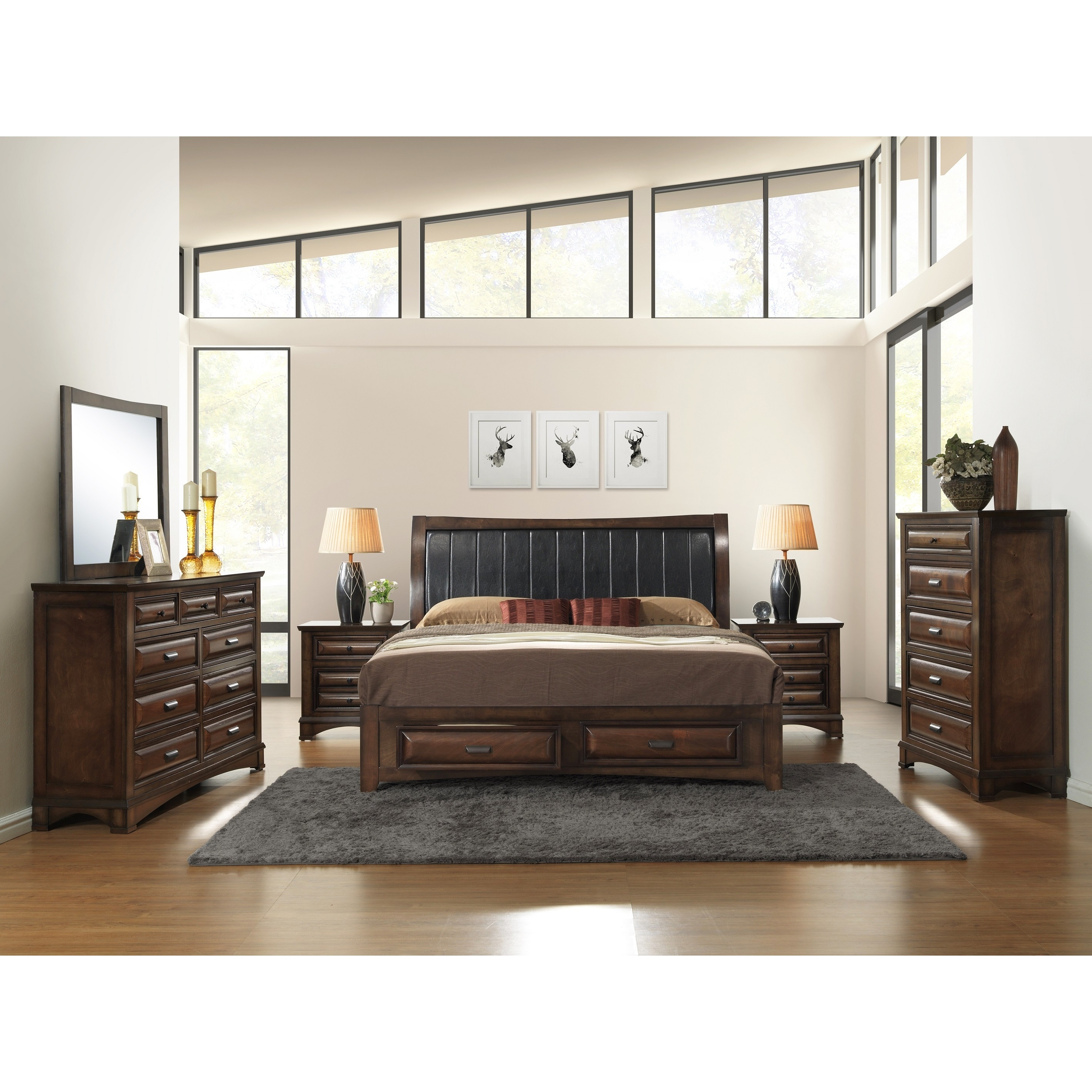Shop Broval 179 6-piece Light Espresso Finish Wood Queen
