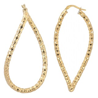 Fremada Italian 14k Yellow Gold Diamond-cut Twist Elongated Hoop Earrings, 2.15""
