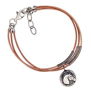 Sterling Silve and Leather Horse Charm Bracelet