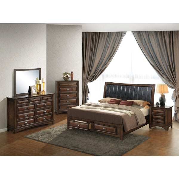 Broval 179 5 Piece Light Espresso Finish Wood King Size Bedroom Set Free Shipping Today
