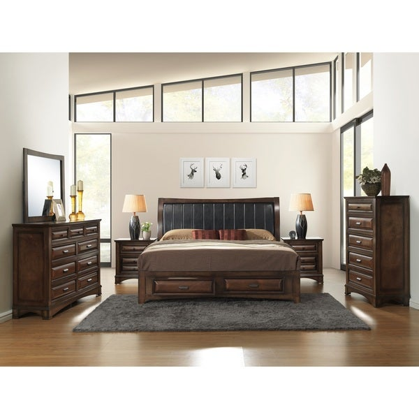 Broval 179 6 Piece Light Espresso Finish Wood King Size Bedroom Set Free Shipping Today
