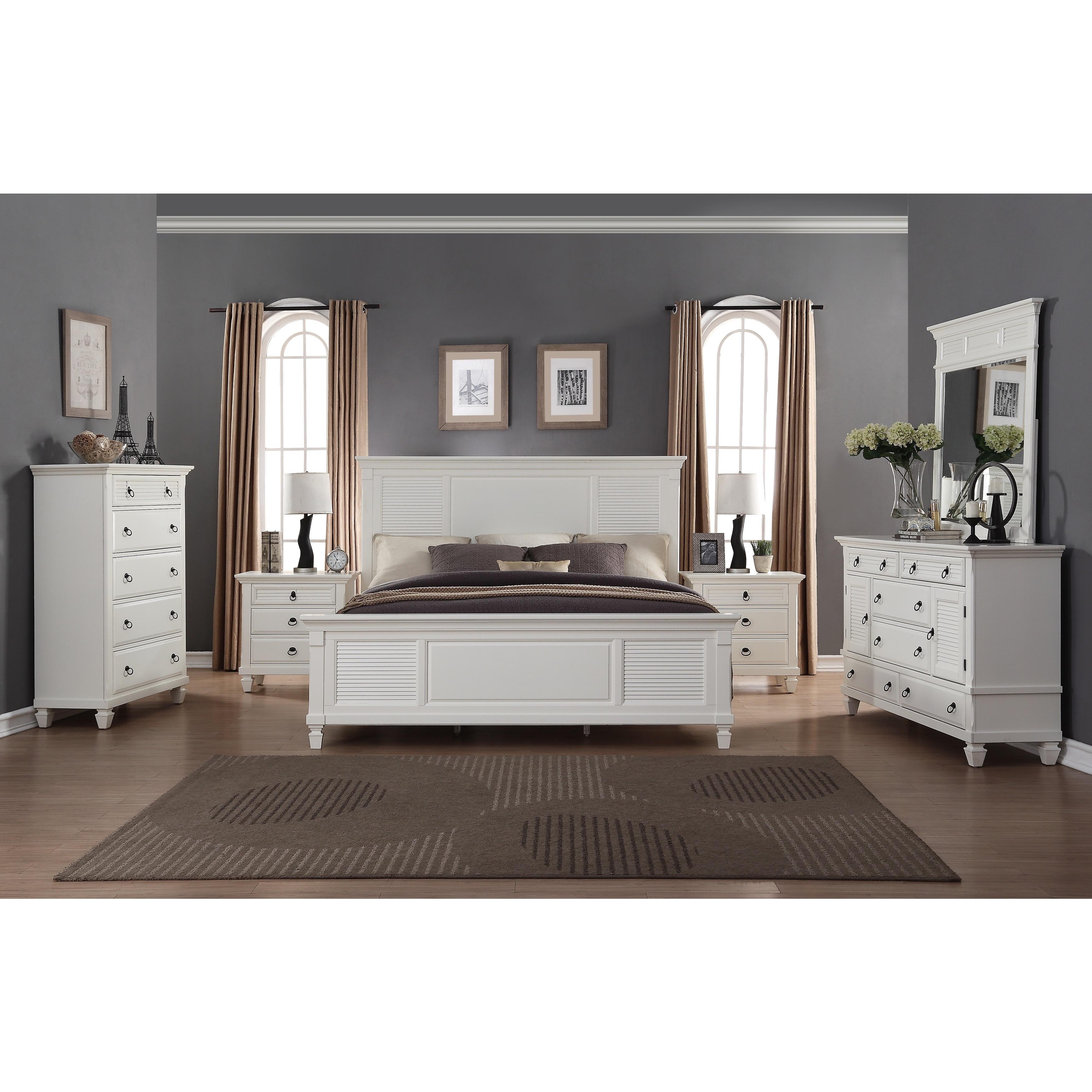 Regitina White 6 Piece Queen Bedroom Furniture Set Overstock 12601995
