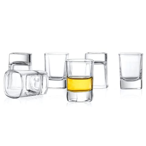 JoyJolt City Heavy Base 2-ounce Tequila, Vodka, Whiskey Shot Glass Set of 6