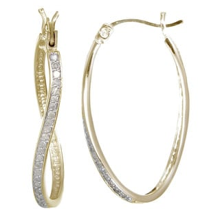 Gold over Silver 1/4ct TDW Diamond Twisty Hoop Earrings (J-K, I2-I3)