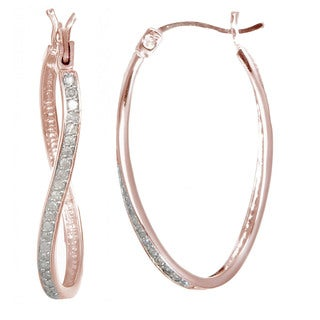 Rose Gold over Silver 1/4ct TDW Diamond Hoop Earrings (J-K, I2-I3)