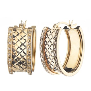 Gold over Silver 1/4ct TDW Diamond Hoop Earrings (J-K, I2-I3)