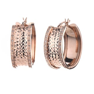 Rose over Silver 1/4ct TDW Diamond Hoop Earrings (J-K, I2-I3)