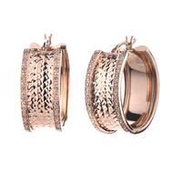 Rose over Silver 1/4ct TDW Diamond Hoop Earrings (J-K, I2-I3)