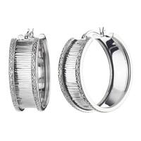 Sterling Silver 1/4ct TDW Diamond Textured Hoop Earrings (J-K, I2-I3)