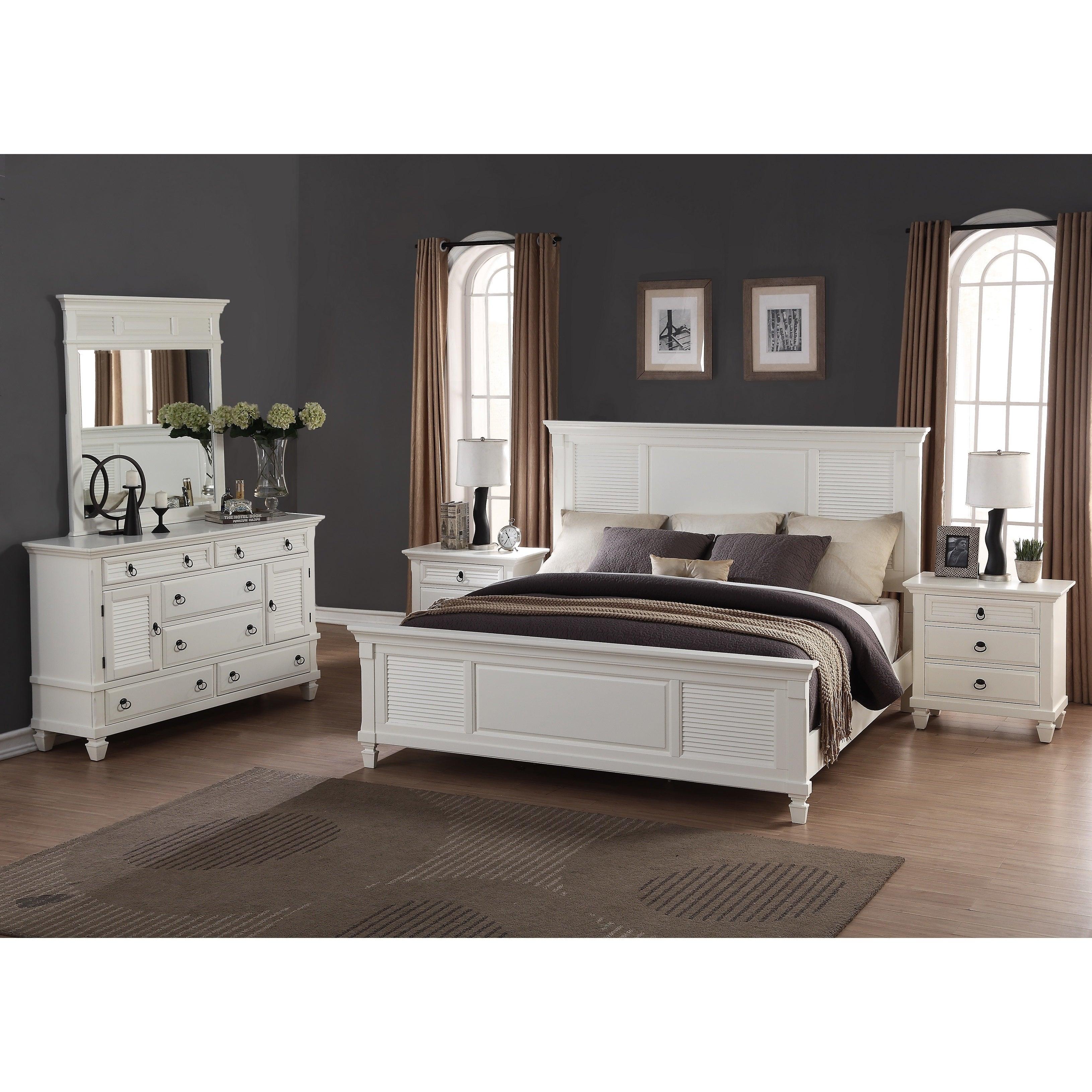 Image of: Shop Black Friday Deals On Regitina White 5 Piece Queen Size Bedroom Furniture Set Overstock 12602051