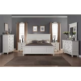 regitina white 6 piece king size bedroom furniture set - King Bed Bedroom Sets