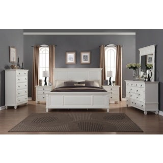 Regitina White 6 Piece King Size Bedroom Furniture Set (Option: King)