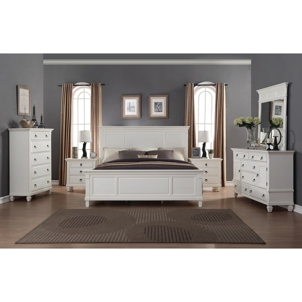 Regitina white 6 piece king size bedroom furniture set for White dresser set bedroom furniture