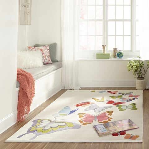 Momeni Lil Mo Whimsy Grey Butterfly Garden Hand-Tufted and Hand-Carved Rug (8' X 10')