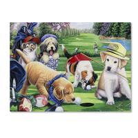 Jenny Newland 'Golfing Puppies' Canvas Art - Multi