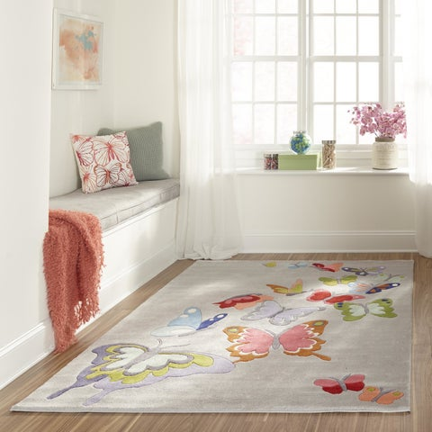 Momeni Lil Mo Whimsy Grey Butterfly Garden Hand-Tufted and Hand-Carved Rug - 3' x 5'