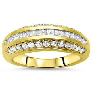 Noori 14k Yellow Gold 1ct TDW Princess-cut Diamond Wedding Band Ring