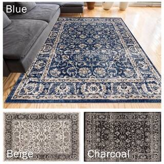 Well Woven Vintage Distressed Timeless Border Area Rug 5 3 X 7