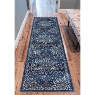 "Well Woven Medallion Vinage Distressed Blue Area Rug (2'7"" x 9'10"" Runner )"