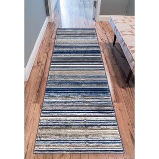 "Well Woven Modern Distressed Stripes Blue Area Rug (2'7"" x 9'10"" Runner )"