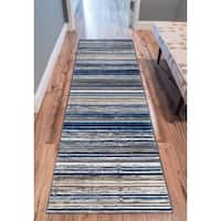 """Well Woven Modern Distressed Stripes Blue Area Rug - 2'7"""" x 9'10"""""""