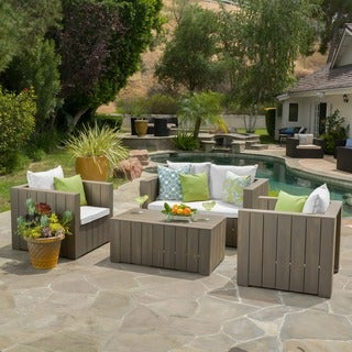 Vitus Outdoor 4-piece Acacia Wood Chat Set with Cushions by Christopher Knight Home