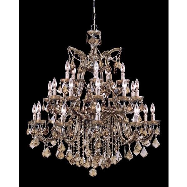 Crystorama Maria Theresa 26-light Antique Brass/Golden Teak Swarovski Strass Crystal Chandelier - Gold
