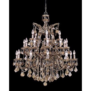 Crystorama Maria Theresa Collection 26-light Antique Brass/Golden Teak Swarovski Strass Crystal Chandelier