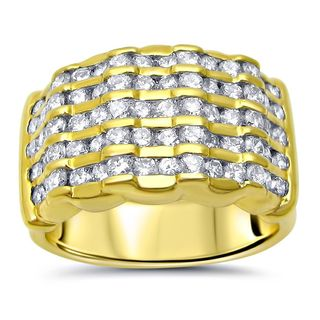 Noori 18k Yellow Gold 1 3/4ct TDW Round Diamond Wide Wedding Band Ring