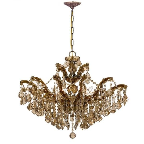 Crystorama Maria Theresa Collection 6-light Antique Brass/Golden Teak Swarovski Strass Crystal Chandelier
